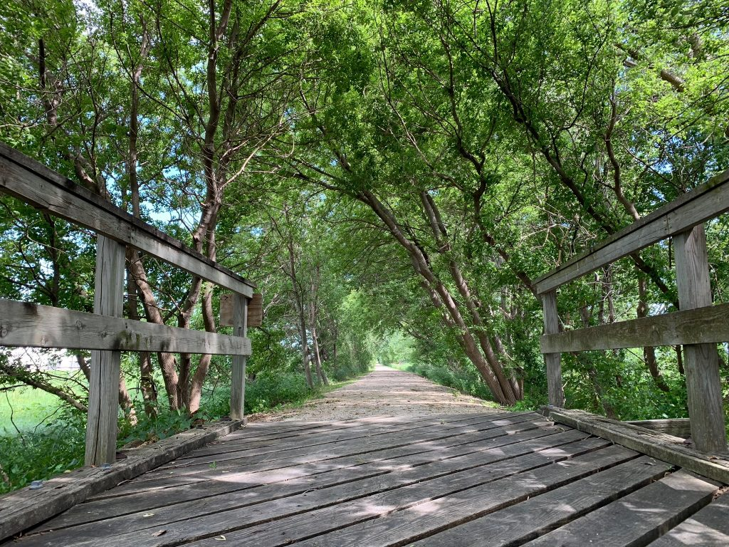 Wooden bridge on Prairie Preservation Trail